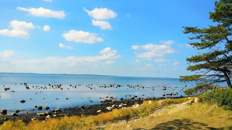 Sea view at Hittarp, Helsingborg, Sweden royalty free stock photos