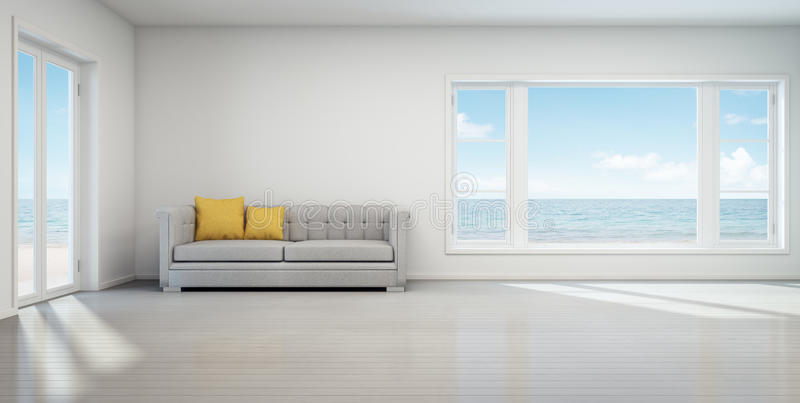 Sea view living room, Beach house with white vintage interior stock image