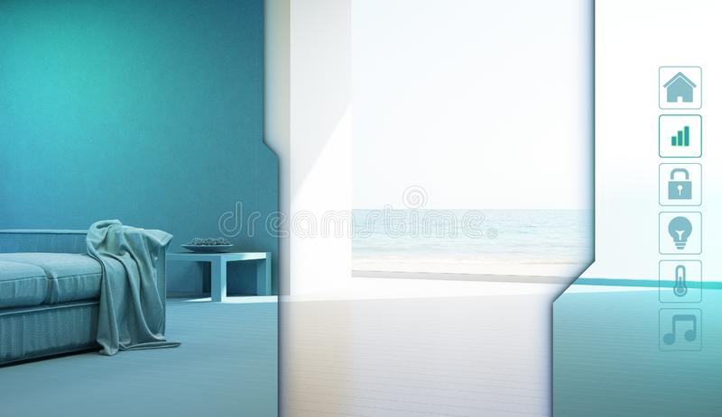 Sea view living room of luxury summer beach house with application icons in smart home concept. royalty free illustration