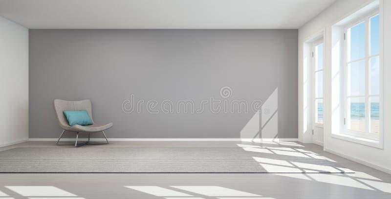 Sea view living room in modern beach house, Summer home stock photos