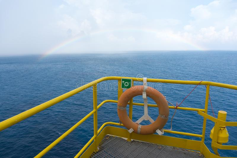 Sea view from offshore jack up drilling rig. stock photo