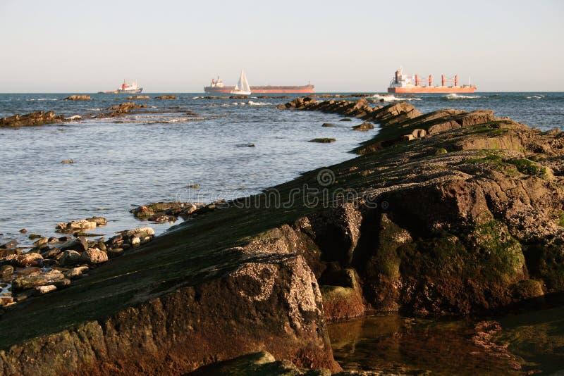 Sea view from Punta San Garcia, near Algeciras. A shore view from Punta San Garcia, in the Parque del Centenario, a nature reserve on the outskirts of Algeciras stock photos