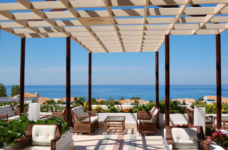 Sea view relaxation area of luxury hotel royalty free stock image