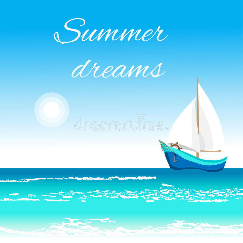 Sea view with sailboat and sun stock images