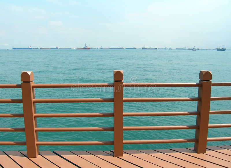 Sea View With Ships Stock Photography