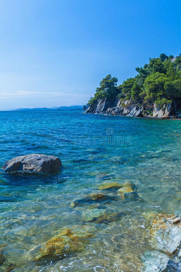 Sea view in Sithonia, Chalkidiki stock photography