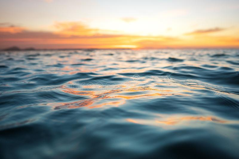 Sea view at sunset, texture of the sea.  royalty free stock image