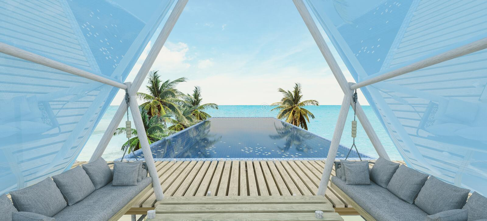 Sea view swimming pool royalty free stock images