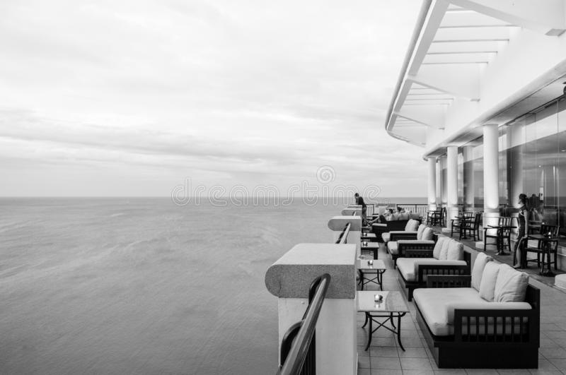 Sea view terrace at luxury hotel, Hua Hin - Thailand royalty free stock photography