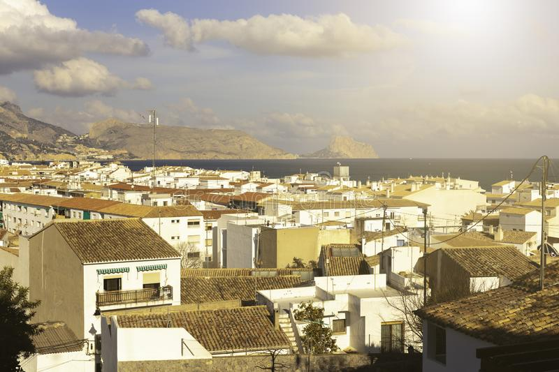 Sea view from the white houses with tiled roofs of the old town in Altea. Spain stock photos