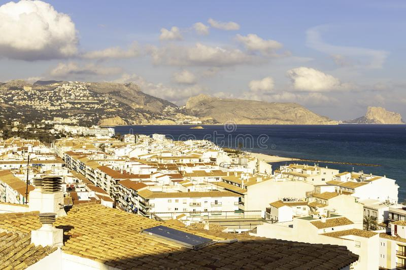 Sea view from the white houses with tiled roofs of the old town in Altea. Spain stock images