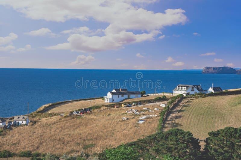 sea views in Port Isaac, car park,  Cornwall stock photo