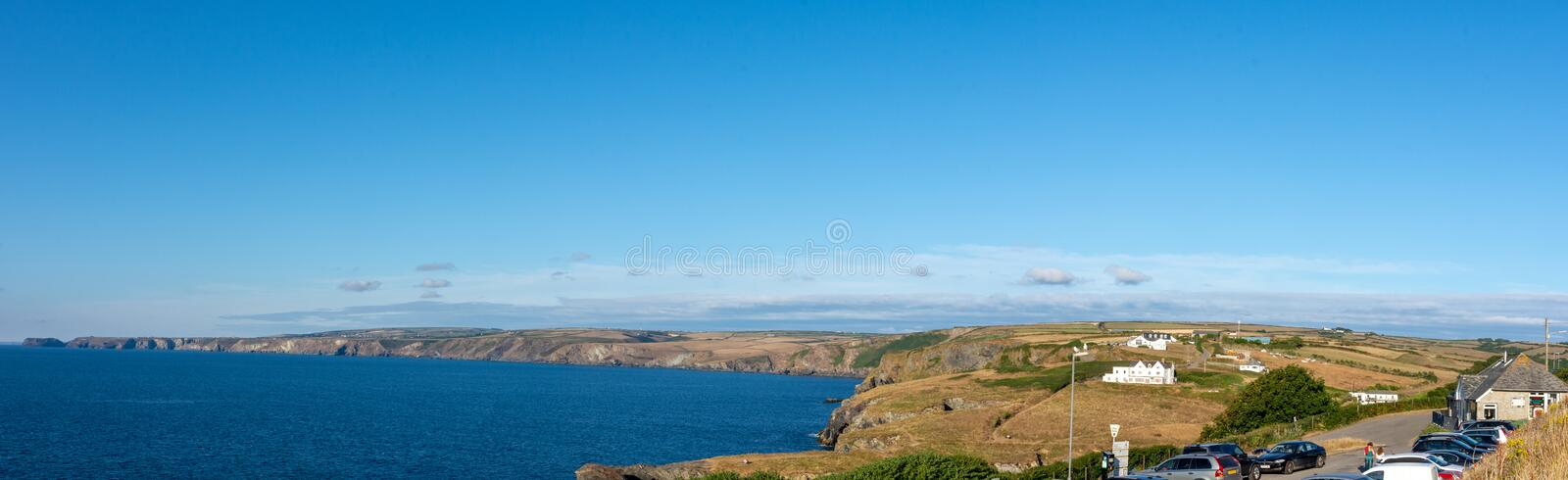 Sea views in Port Isaac, car park,  Cornwall pano royalty free stock image