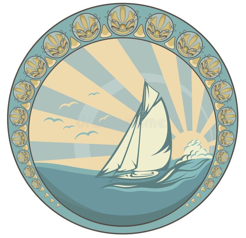 Sea voyage. Retro style sea voyage vector design - sailing yacht circle label stock illustration