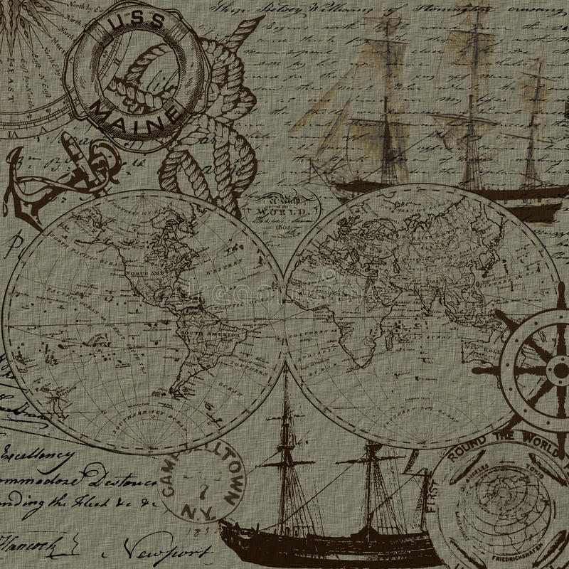 Sea voyage and nautical elements design stock photography