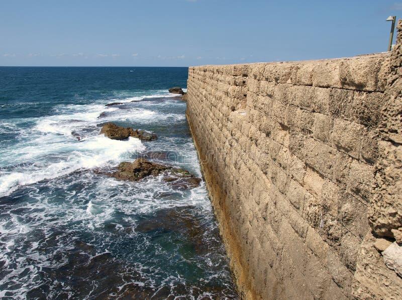 Sea wall Acre Akko Israel. Sea wall of the Historical old city Acre Akko Israel royalty free stock photo