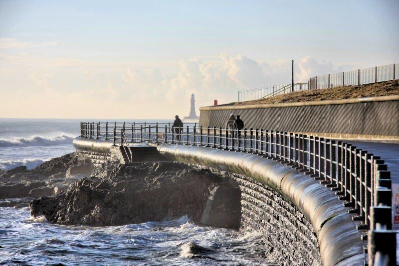 Sea Wall at Seaburn royalty free stock photography