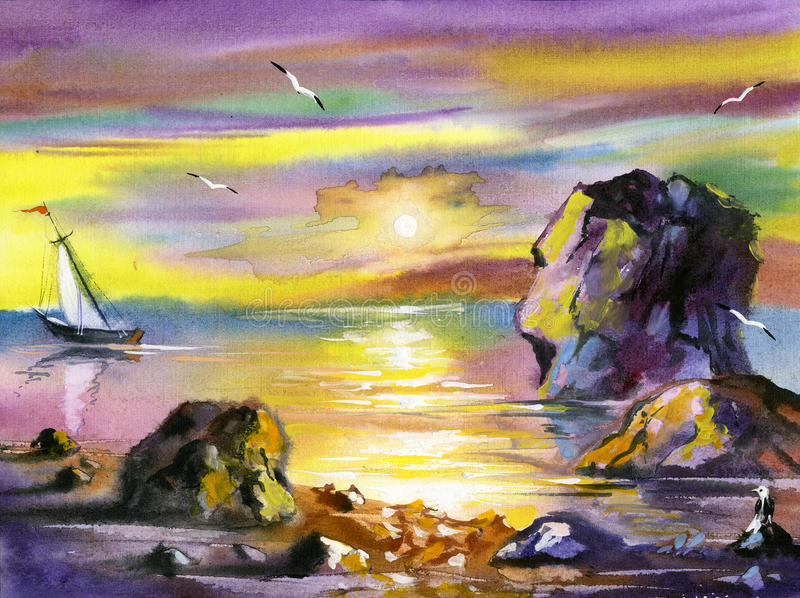 Sea water colour landscape royalty free stock photos