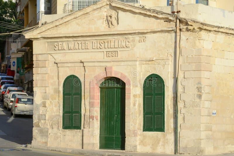 Sea water distilling plant, built 1881. Sliema, Malta. stock image