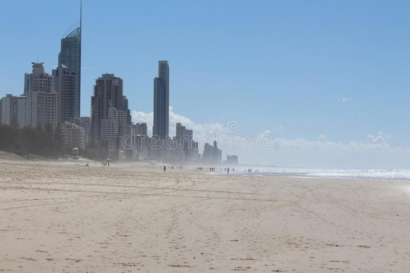 Sea Water at Surfers Paradise. Surfers Paradise is a suburb within the local government area of City of Gold Coast in Queensland, Australia. At the 2011 census stock photo
