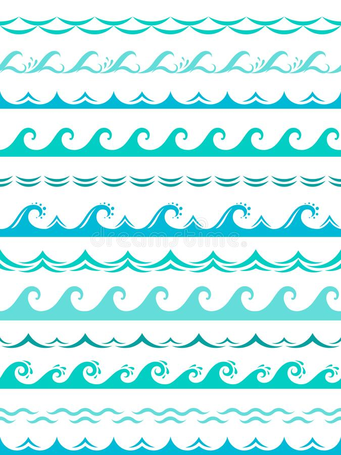 Sea wave borders. Seamless ocean storm waves wavy surface blue water splash silhouette elements horizontal frame vector. Isolated set stock illustration