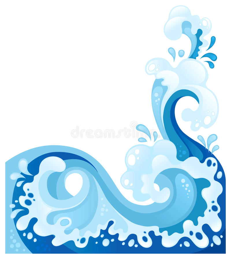 Sea wave in the decorative style stock illustration