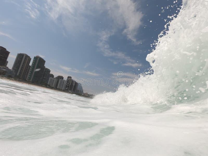 Sea Wave foam in Rio. Beautiful day with a nice wave foam in the beach break of Barra da Tijuca's beach,  Rio de Janeiro  - Brazil, tijucas stock photo