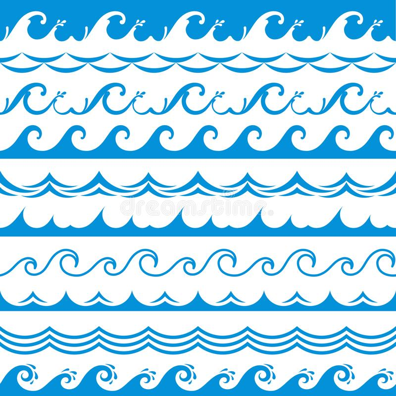 Sea wave frame. Seamless ocean storm tide waves wavy river blue water splash design elements horizontal borders vector. Isolated set stock illustration