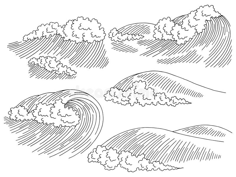 Sea wave graphic surf black white seascape sketch set illustration vector. Sea wave graphic surf black white seascape sketch set illustration royalty free illustration