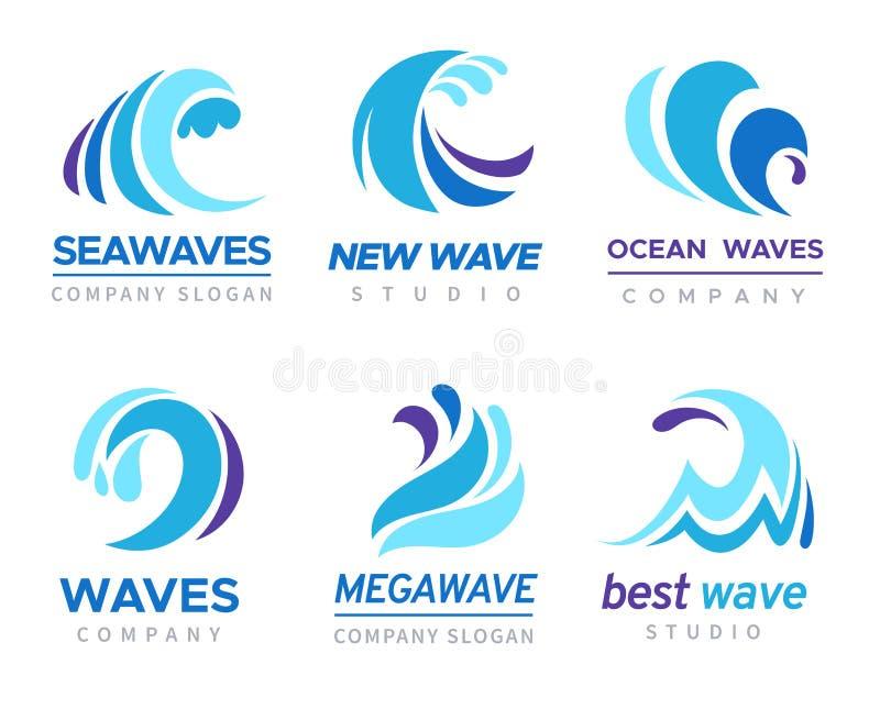 Sea wave logo. Ocean storm tide waves wavy river blue water splash design emblems labels vector isolated collection vector illustration