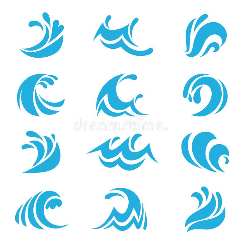 Sea wave set. Ocean storm tide waves wavy river water design line elements vector isolated collection royalty free illustration