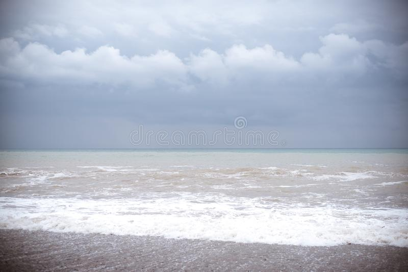 Sea wave surf. Beautiful blue waves with a lot of sea and clouds on sky stock photos