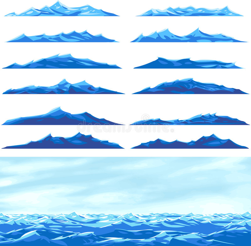 Sea waves. An illustration of a seascape and sea waves over white background