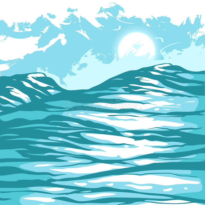 Sea waves against the sky royalty free illustration