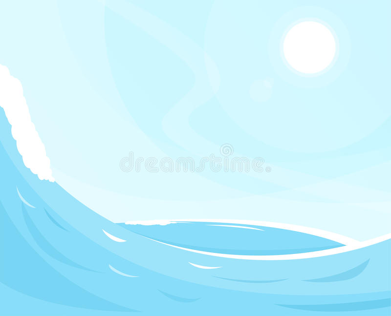 Sea waves background. Ocean view and blue sky. Sunny cloudless day on ocean shore. Waves foam and deep water stock illustration