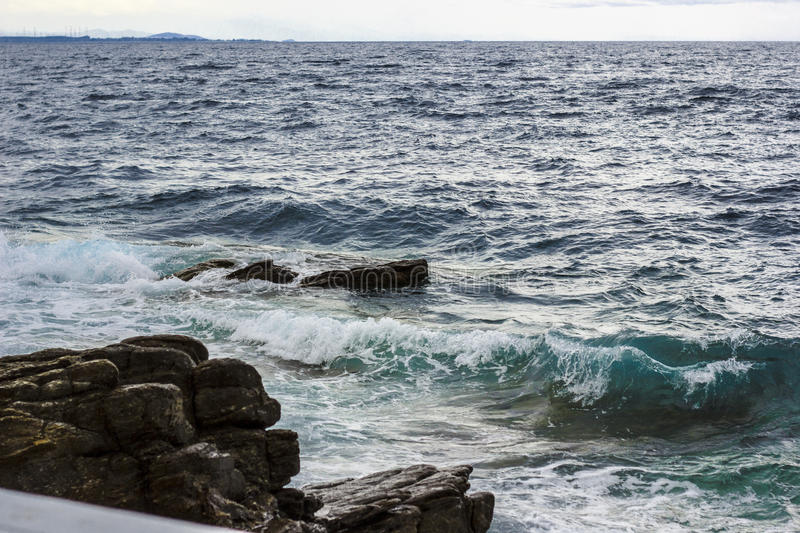 Sea waves blue and green royalty free stock photos