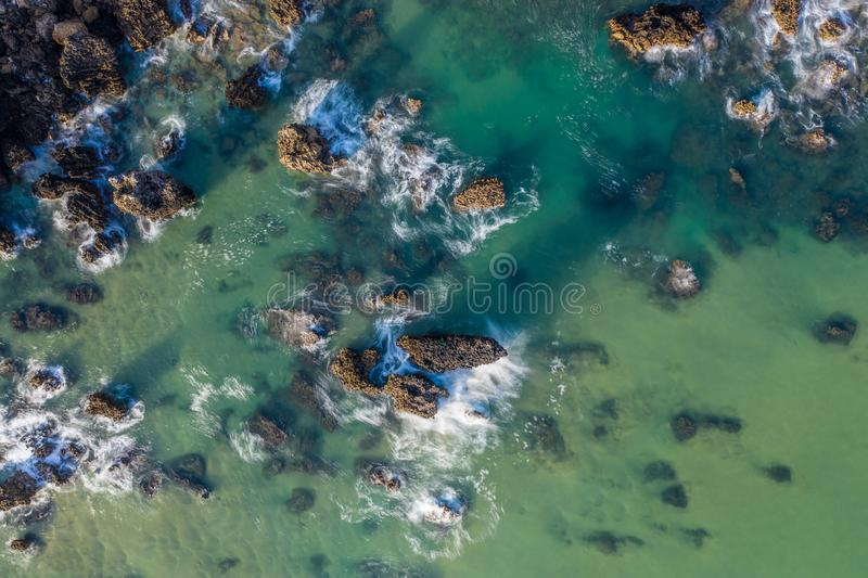 Sea waves breaking in the reefs and coast of Sonabia, Spain, Cantabrian sea - long exposure. Sea waves breaking in the reefs and coast of Sonabia, Spain royalty free stock photo