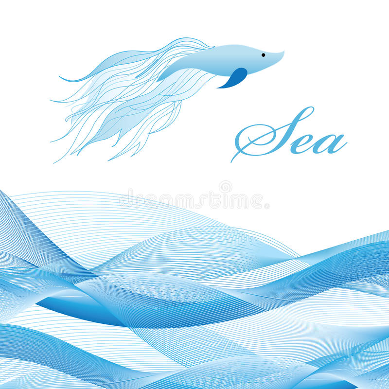 Sea Waves And Fish Stock Image