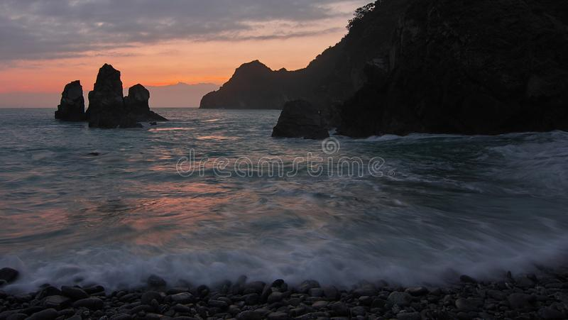 Sea Waves during Golden Hour royalty free stock photo