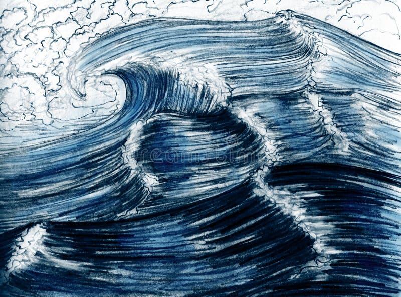 Sea Waves, Hand Drawn Stock Photos