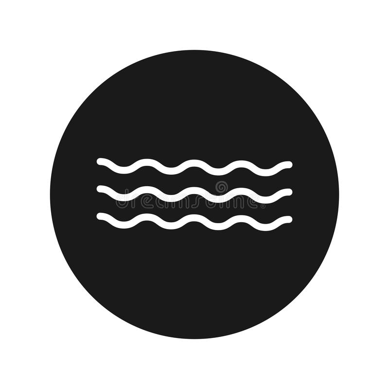 Sea waves icon flat black round button vector illustration. Sea waves icon vector illustration design isolated on flat black round button stock illustration