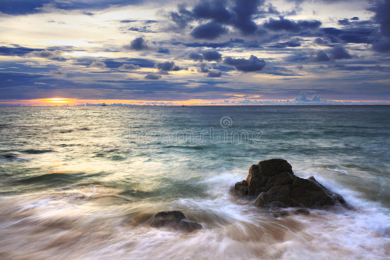 Download Sea Waves Lash Line Impact Rock On The Beach Royalty Free Stock Images - Image: 28901159
