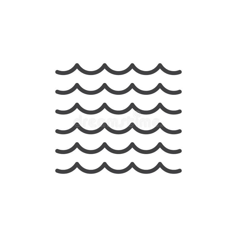 Sea waves line icon stock illustration