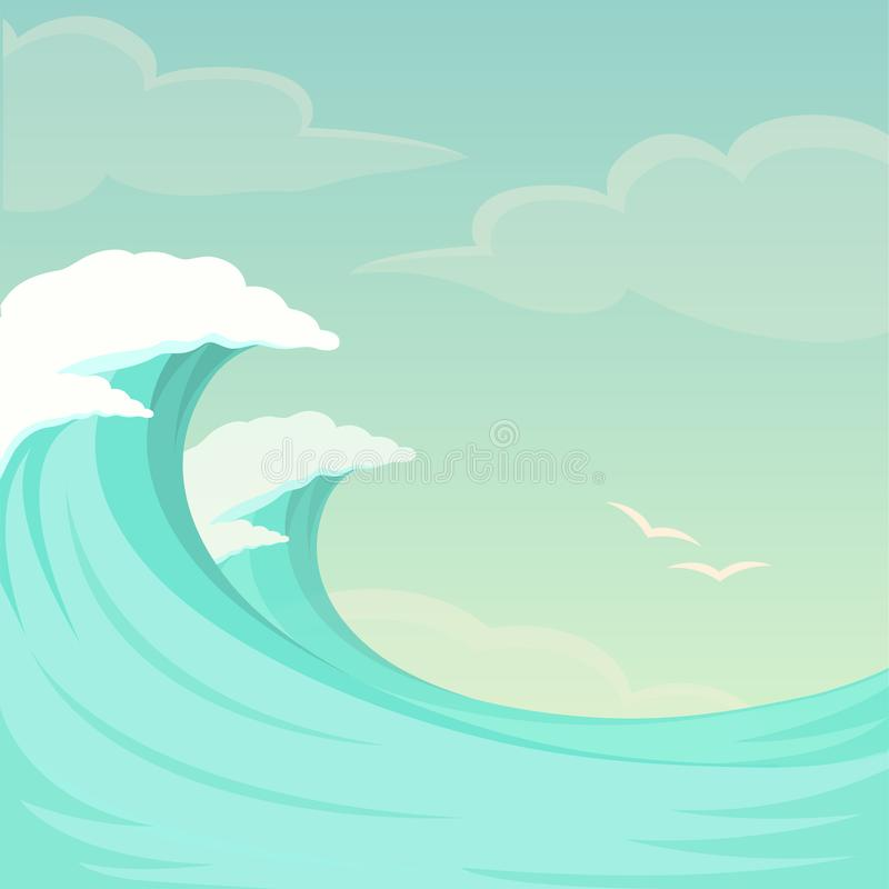 Sea waves, ocean wave background, water and summer sky royalty free illustration