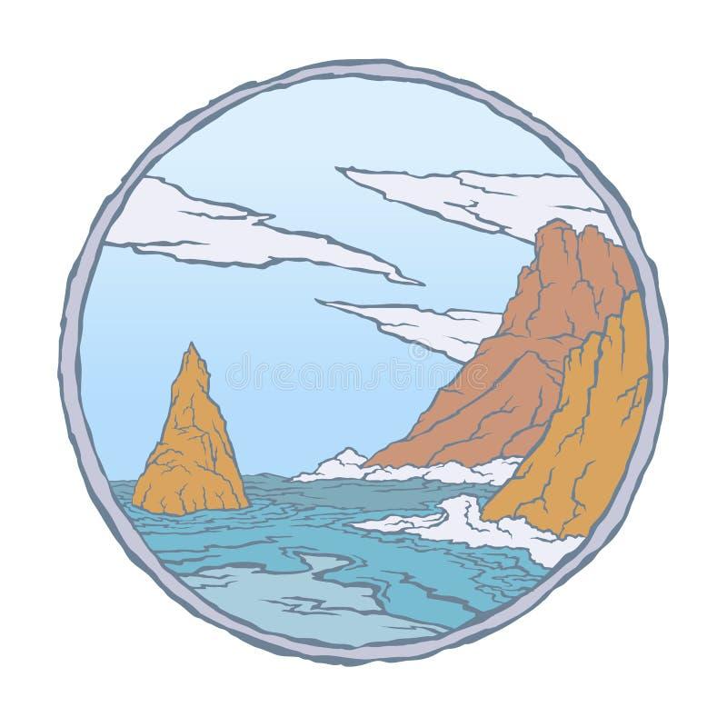 Sea waves of rocks stock illustration