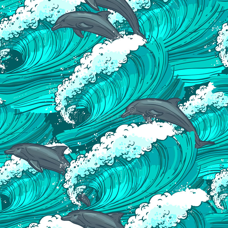 Sea waves seamless pattern stock illustration