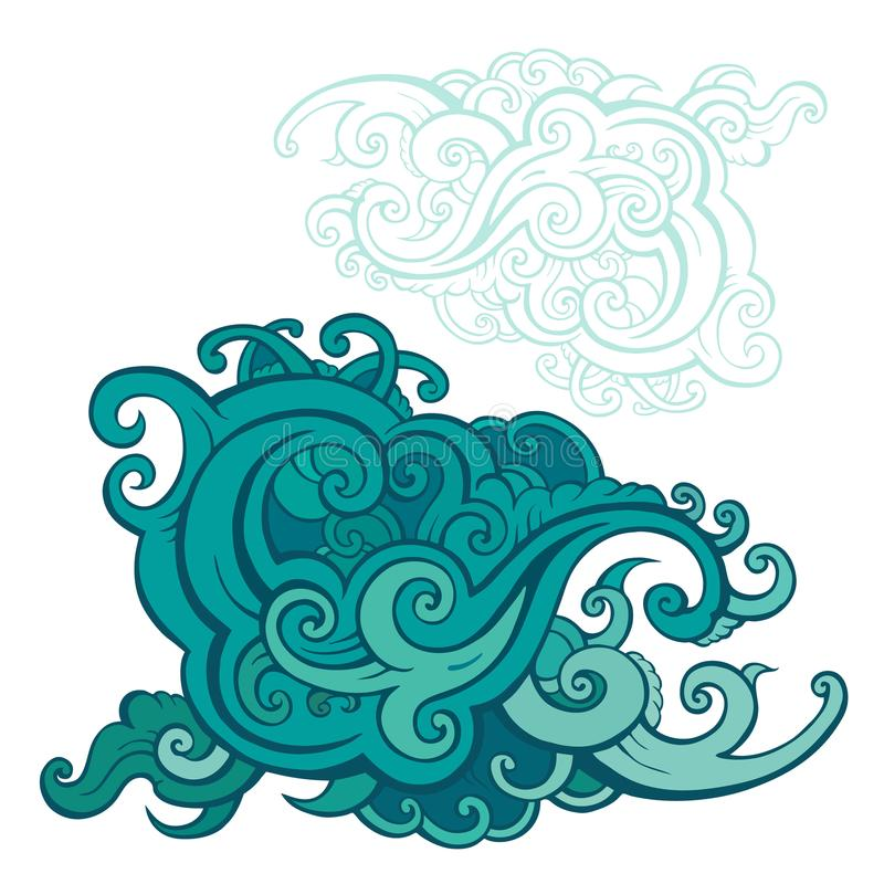 Sea waves set. Hand drawn illustration. Design element vector illustration