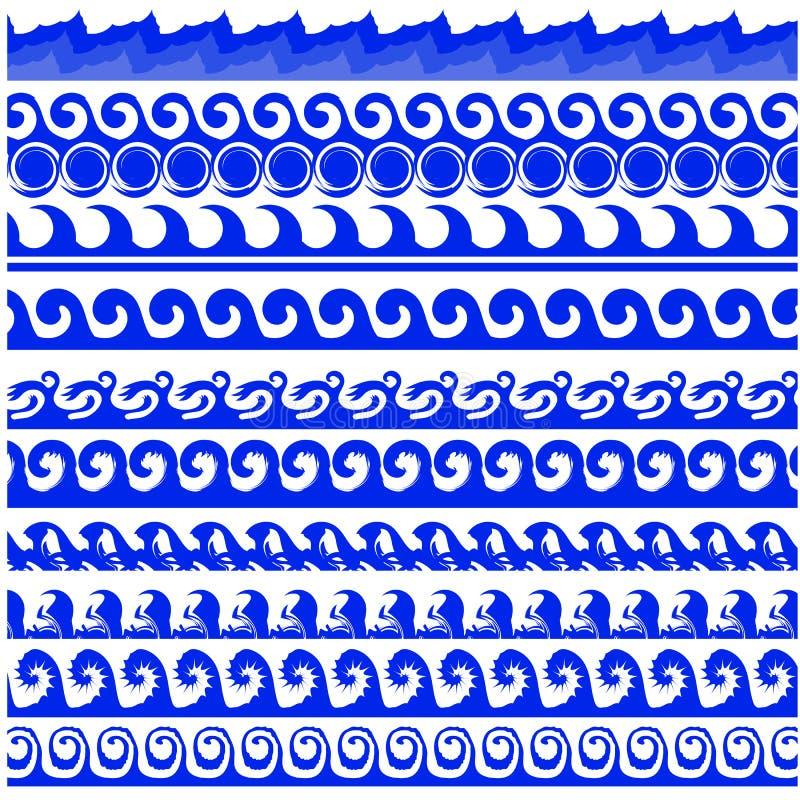 Sea Waves Set. On White Background stock illustration