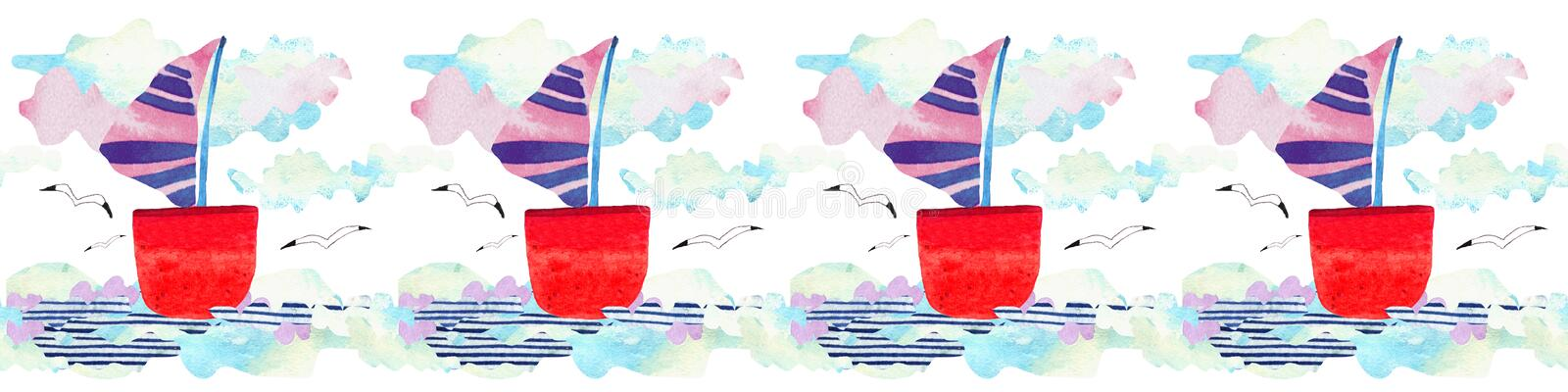 Watercolor Sea waves, ship and seagull in paper art style. Travel concept illustration. stock images