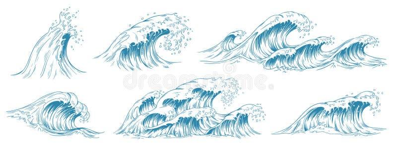 Sea waves sketch. Storm wave, vintage tide and ocean beach storms hand drawn vector illustration set royalty free illustration